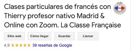 reseñas gogole my business la classe française