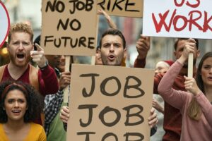 Unemployment strike and protest